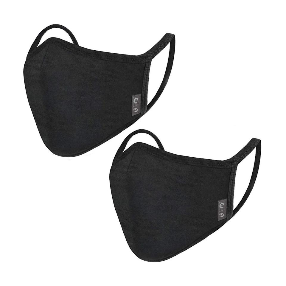 """With over 3000 reviews and a strong rating, these solid black masks are triple-layered and come with an adjustable nose wire, so they're a great pick for <a href=""""https://www.glamour.com/gallery/face-masks-for-glasses?mbid=synd_yahoo_rss"""" rel=""""nofollow noopener"""" target=""""_blank"""" data-ylk=""""slk:glasses wearers"""" class=""""link rapid-noclick-resp"""">glasses wearers</a>. $13, Amazon. <a href=""""https://www.amazon.com/2-Pack-Unisex-Cloth-Washable-Reusable/dp/B0899V668G/ref=sr_1_1"""" rel=""""nofollow noopener"""" target=""""_blank"""" data-ylk=""""slk:Get it now!"""" class=""""link rapid-noclick-resp"""">Get it now!</a>"""