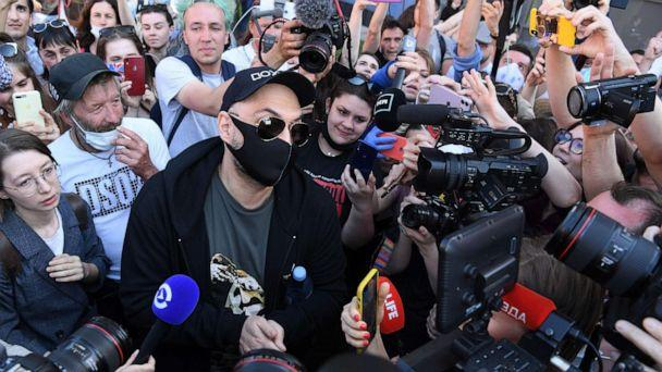 PHOTO: Russian theatre and film director Kirill Serebrennikov speaks to journalists outside a court building in Moscow on June 26, 2020. (Kirill Kudryavtsev/AFP via Getty Images)