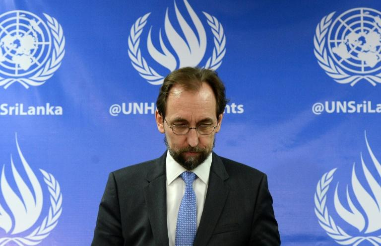 United Nations High Commissioner for Human Rights, Zeid Ra'ad Al Hussein, speaks to reporters during a press conference in Colombo, on February 9, 2016