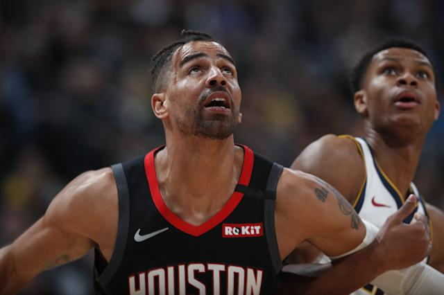 Houston Rockets forward Thabo Sefolosha (18) and Denver Nuggets guard PJ Dozier (35) in the second half of an NBA basketball game Sunday, Jan. 26, 2020, in Denver. The Nuggets won 117-110. (AP Photo/David Zalubowski)