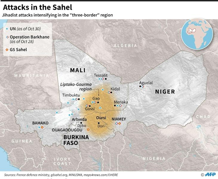 Map of Mali, Niger and Burkina Faso, locating the region where jihadist attacks have been intensifying