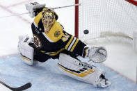 Boston Bruins goaltender Tuukka Rask (40) cannot make a save on a goal by Columbus Blue Jackets center Pierre-Luc Dubois in the overtime period of an NHL hockey game, Thursday, Jan. 2, 2020, in Boston. (AP Photo/Elise Amendola)