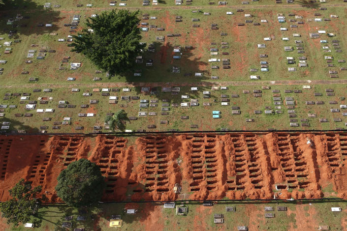 Rows of graves stand freshly dug at the Campo da Esperanca cemetery, in Brasilia, Brazil, Tuesday, March 23, 2021. The nation had an average of 2,235 deaths a day last week – the highest since the beginning of the pandemic. (AP Photo/Eraldo Peres)