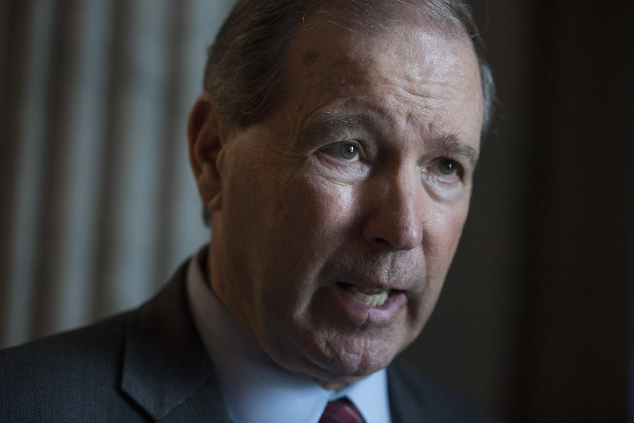 Sen. Tom Udall, D-N.M., speaks with a reporter on April 17. (Photo: Tom Williams/CQ Roll Call)