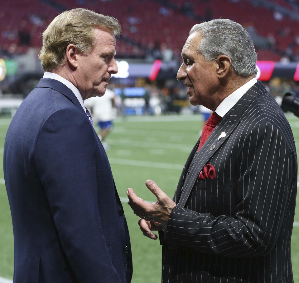 NFL commissioner Roger Goodell (L) and Atlanta Falcons owner Arthur Blank were among those taking part in Tuesday's meeting with players and NFLPA representatives. (AP)