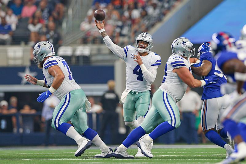 ARLINGTON, TX - SEPTEMBER 08: Dallas Cowboys Quarterback Dak Prescott (4) throws a pass during the game between the New York Giants and the Dallas Cowboys on September 8, 2019 at AT&T Stadium in Arlington, TX. (Photo by Andrew Dieb/Icon Sportswire via Getty Images)