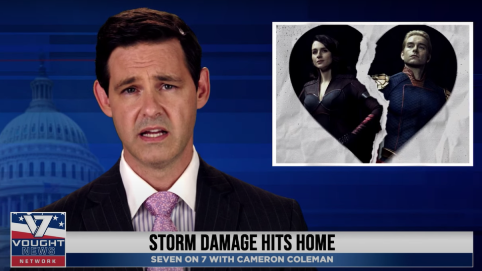 A news anchor in a suit delivers information about The Boys, with a picture of Homelander in the top right corner for Vought News Network