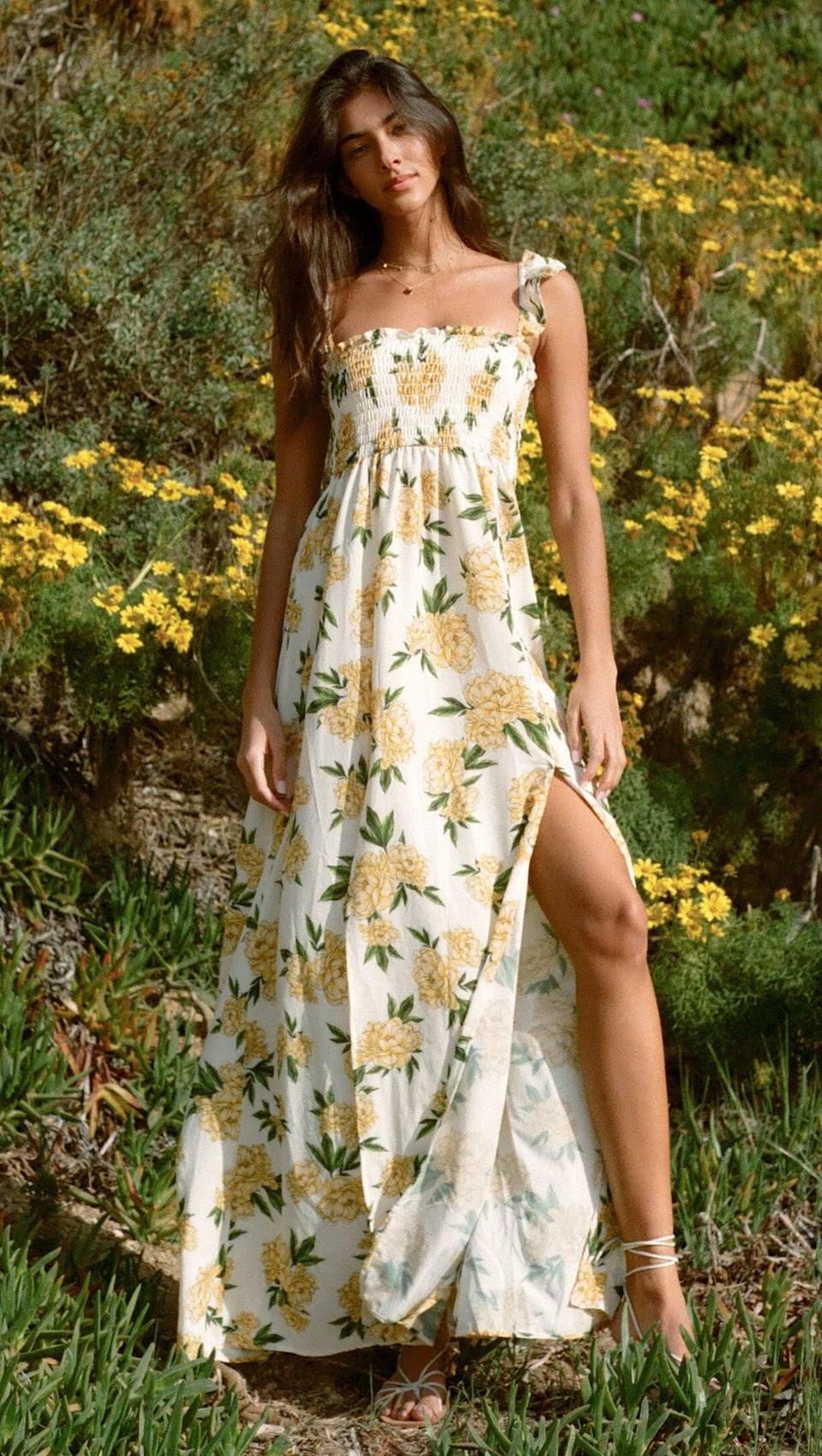 <p>When we think of a floral dress, we think of this <span>Agua Bendita Leandra Voila Dresses</span> ($230). The slit adds a little something sexy, but it's still so comfortable.</p>
