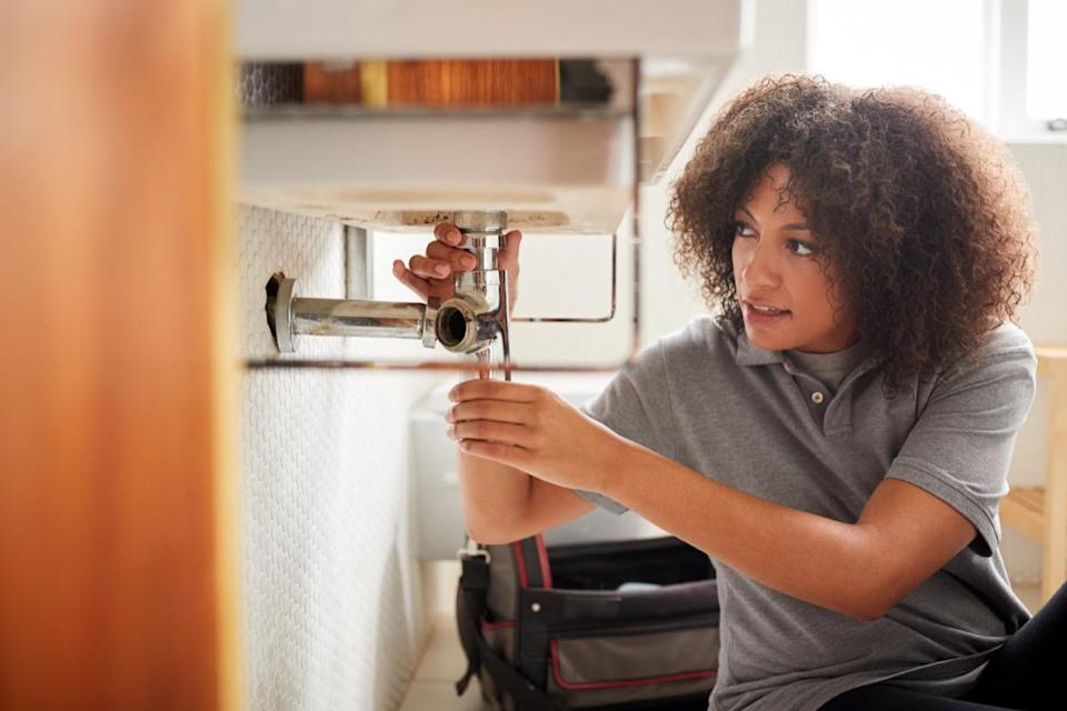 """When it comes to <a href=""""https://bestlifeonline.com/home-plumbing-mistakes/?utm_source=yahoo-news&utm_medium=feed&utm_campaign=yahoo-feed"""" rel=""""nofollow noopener"""" target=""""_blank"""" data-ylk=""""slk:your home's plumbing system"""" class=""""link rapid-noclick-resp"""">your home's plumbing system</a>, all pipes are not created equal. And connecting mismatching materials can lead to a problem bigger than the one you were trying to repair in the first place. """"Some types of plastic can't handle hot water,"""" Dawson says. Other combinations to avoid? Using copper connectors on galvanized pipes, which can cause electrolysis and lead to leaks and damage, he says."""