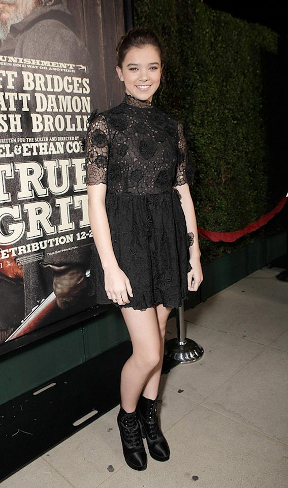 """<a href=""""http://movies.yahoo.com/movie/contributor/1810180267"""">Hailee Steinfeld</a> attends the Los Angeles screening of <a href=""""http://movies.yahoo.com/movie/1810153253/info"""">True Grit</a> on December 9, 2010."""