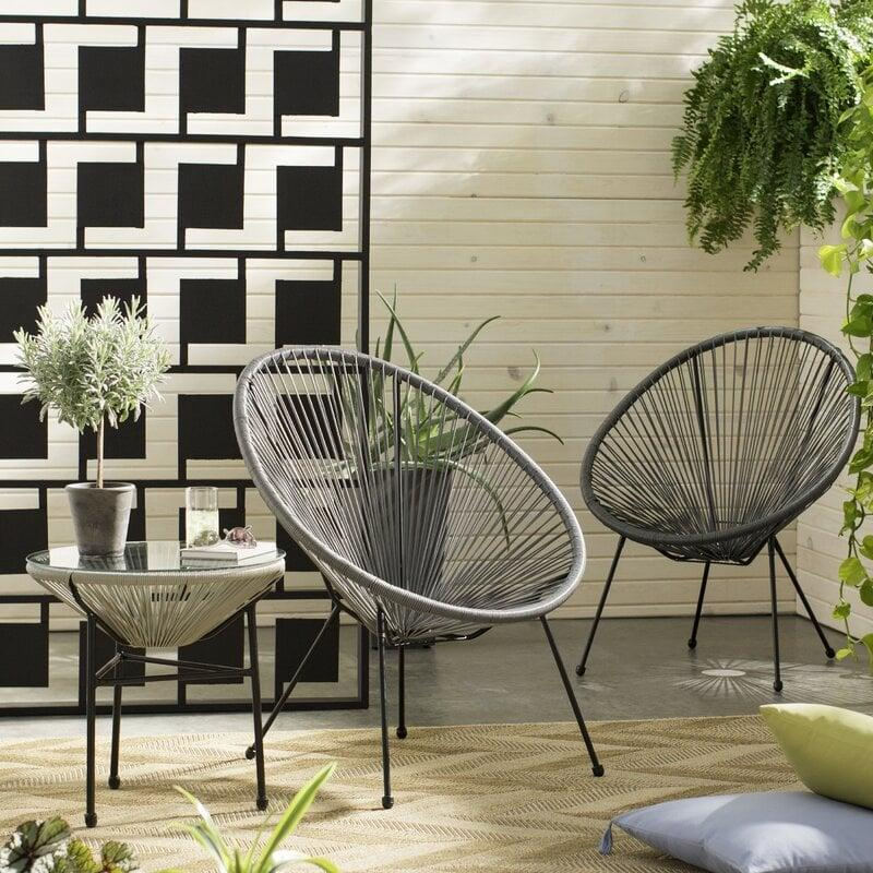 <p>We love this modern <span>Zion 3 Piece Rattan 2 Person Seating Group</span> ($310).</p>