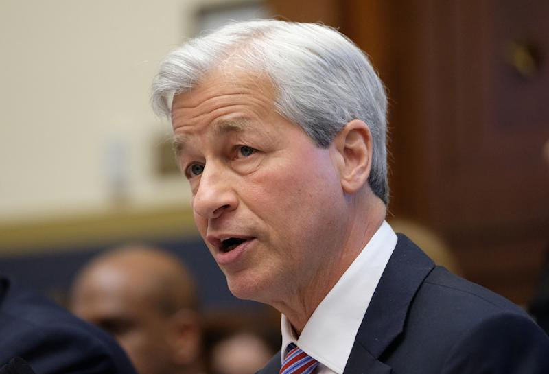 WASHINGTON, DC - APRIL 10: Jamie Dimon, chief executive officer of JPMorgan Chase & Co., speaks during a House Financial Services Committee hearing on April 10, 2019 in Washington, DC. Seven CEOs of the country's largest banks were called to testify a decade after the global financial crisis. (Photo by Alex Wroblewski/Getty Images)