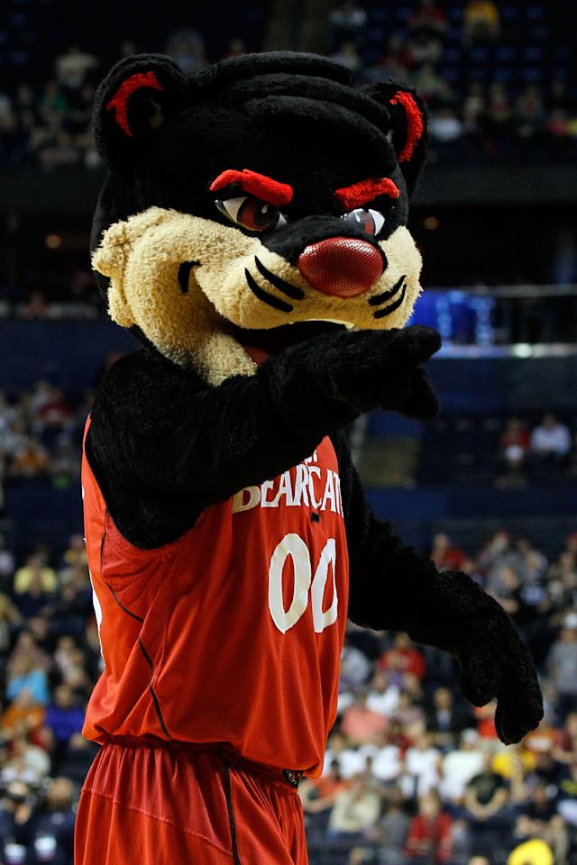 NASHVILLE, TN - MARCH 16:  The Cincinnati Bearcats mascot performs during a break in play against the Texas Longhorns the second round of the 2012 NCAA Men's Basketball Tournament at Bridgestone Arena on March 16, 2012 in Nashville, Tennessee.  (Photo by Kevin C. Cox/Getty Images)