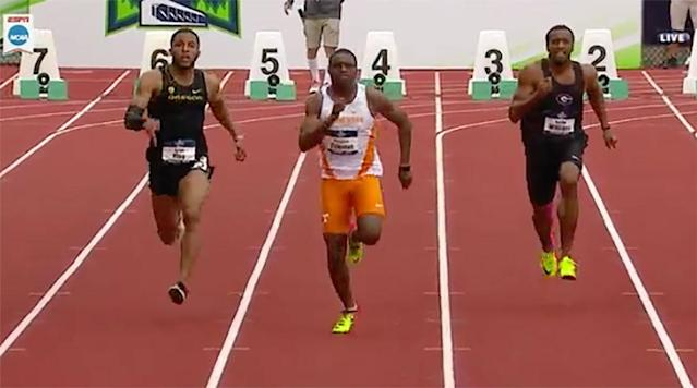 "<p>Tennessee junior Christian Coleman ran a collegiate record and the world's fastest time of 2017 in the 100 meters with his 9.82 second run in the semifinals of the 2017 NCAA Outdoor Track and Field Championships.</p><p>The time also makes him the fourth-fastest American sprinter at the 100 meter distance. only Tyson Gay's 9.69, Justin Gatlin's 9.74 and Maurice Greene's 9.79 are faster in history.</p><p>He is now the ninth fastest at 100 meters all-time. Here is a list of those faster than him:</p><p>1. Usain Bolt (JAM) - 9.58</p><p>2. Tyson Gay (USA) - 9.69</p><p>3. Yohan Blake (JAM) - 9.69</p><p>4. Asafa Powell (JAM) - 9.72</p><p>5. Justin Gatlin (USA) - 9.74</p><p>6. Nesta Carter (JAM) - 9.78</p><p>7. Maurice Greene (USA) - 9.79</p><p>8. Steve Mullings (JAM) - 9.80</p><p><strong>9. Christian Coleman (USA) - 9.82</strong></p><p>Coleman has also run 19.85 for the 200 meters.</p><p>Coleman was the NCAA champion indoors at 60 meters and 200 meters during the indoor season. He is looking to capture the outdoor 100 meter and 200 meter titles.</p><p>Coleman could also contend for a spot on the U.S. national team for the IAAF World Championships in London later this summer. He must finish in the top three of the U.S. Championships, which will be held in Sacramento later this month.</p><p>Coleman's name may be familiar after he went <a href=""https://www.si.com/nfl/2017/05/01/christian-coleman-40-yard-dash-412-video-nfl-draft"" rel=""nofollow noopener"" target=""_blank"" data-ylk=""slk:viral for clocking a 4.12 for the 40 yard dash"" class=""link rapid-noclick-resp"">viral for clocking a 4.12 for the 40 yard dash</a> in a video put out by Tennessee's track and field team.</p>"