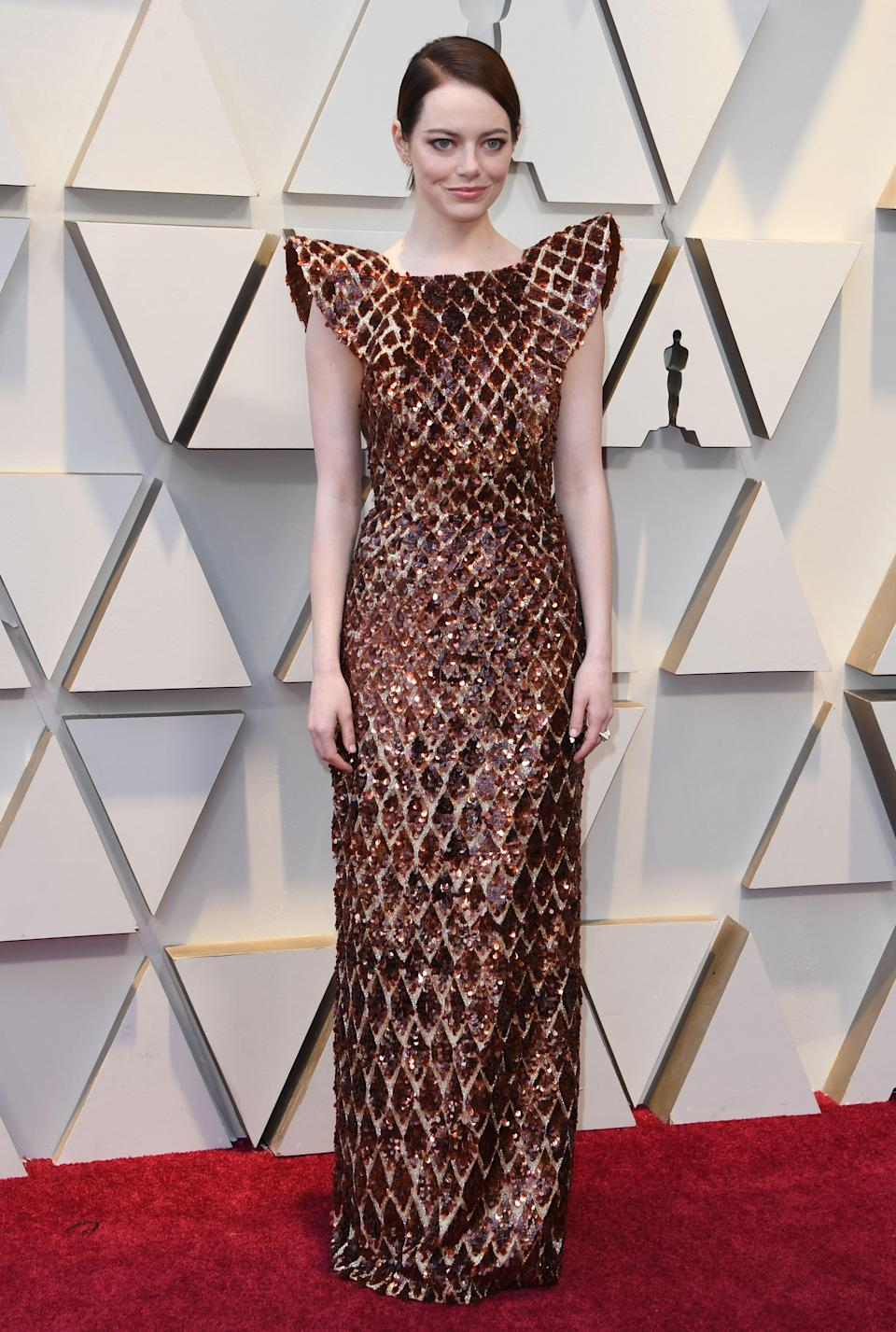 """<p>The Oscar winner and best supporting actress nominee for her role in """"The Favourite"""" wowed in a copper gown by Louis Vuitton. <em>[Photo: Getty]</em> </p>"""