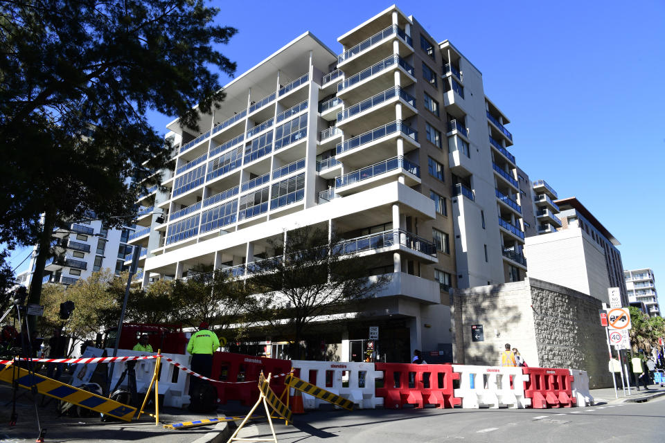 The Mascot Towers building is seen in Mascot, Sydney, Saturday, June 15, 2019. Residents of the high-rise in Mascot, in Sydney's inner-south, have been evacuated as a precaution after cracks were discovered in the building. (AAP Image/Bianca De Marchi)