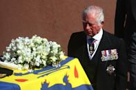 <p>An emotional Prince Charles was one of the close family to walk behind the coffin of Prince Philip during a ceremonial procession. (Getty)</p>