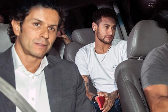 Neymar on his way to have surgery in Brazil earlier this month - he is currently recovering from a foot operation (AFP Photo/NELSON ALMEIDA)