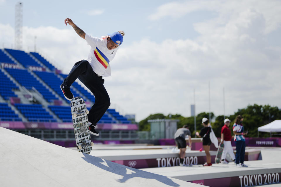 Margielynarda Didal of the Philippines trains during a street skateboarding practice session at the 2020 Summer Olympics, Friday, July 23, 2021, in Tokyo, Japan. (AP Photo/Markus Schreiber)