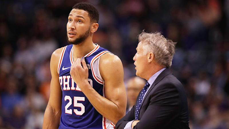Brett Brown is seen here chatting to Ben Simmons during their time at the 76ers.