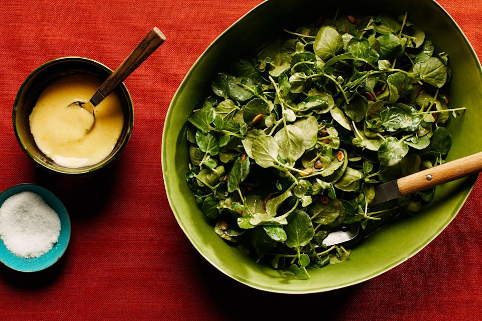 """<h1 class=""""title"""">Watercress Salad With Warm Mustard Dressing</h1> <div class=""""caption""""> <a href=""""https://www.epicurious.com/recipes/food/views/watercress-salad-with-warm-mustard-dressing?mbid=synd_yahoo_rss"""" rel=""""nofollow noopener"""" target=""""_blank"""" data-ylk=""""slk:Watercress Salad With Warm Mustard Dressing"""" class=""""link rapid-noclick-resp"""">Watercress Salad With Warm Mustard Dressing</a> </div> <cite class=""""credit"""">Photo by Chelsea Kyle, Prop Styling by Alex Brannian, Food Styling by Ali Nardi</cite>"""