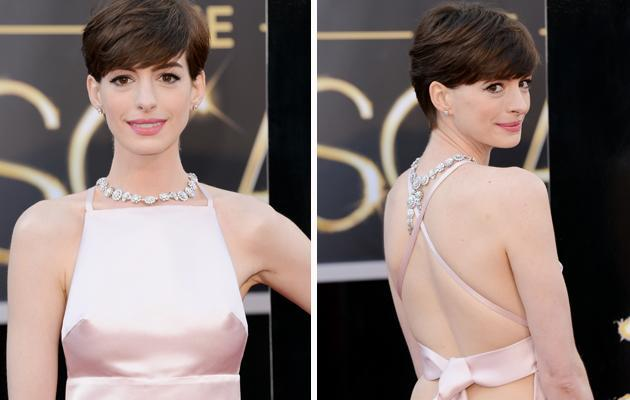 Actress Anne Hathaway arrives at the Oscars. (Credit: Getty)
