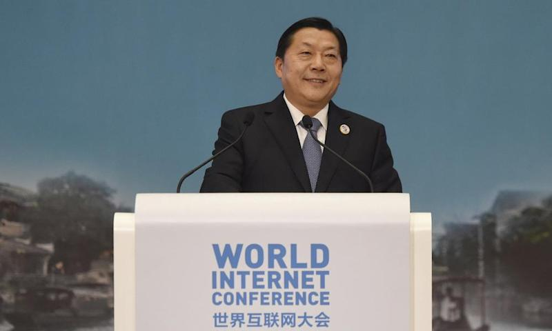 Lu Wei, the former top official for internet censorship in China, speaking at the second annual World Internet Conference in Zhejiang province in 2015.