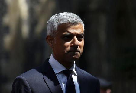 Sadiq Khan, the Mayor of London, attends an event to mark the anniversary of the attack on London Bridge, in London, Britain, June 3, 2018. REUTERS/Simon Dawson