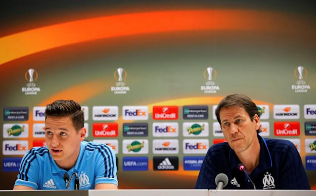 Soccer Football - Europa League - Olympique de Marseille Press Conference - Orange Velodrome, Marseille, France - April 25, 2018 Marseille coach Rudi Garcia and Florian Thauvin during the press conference REUTERS/Jean-Paul Pelissier