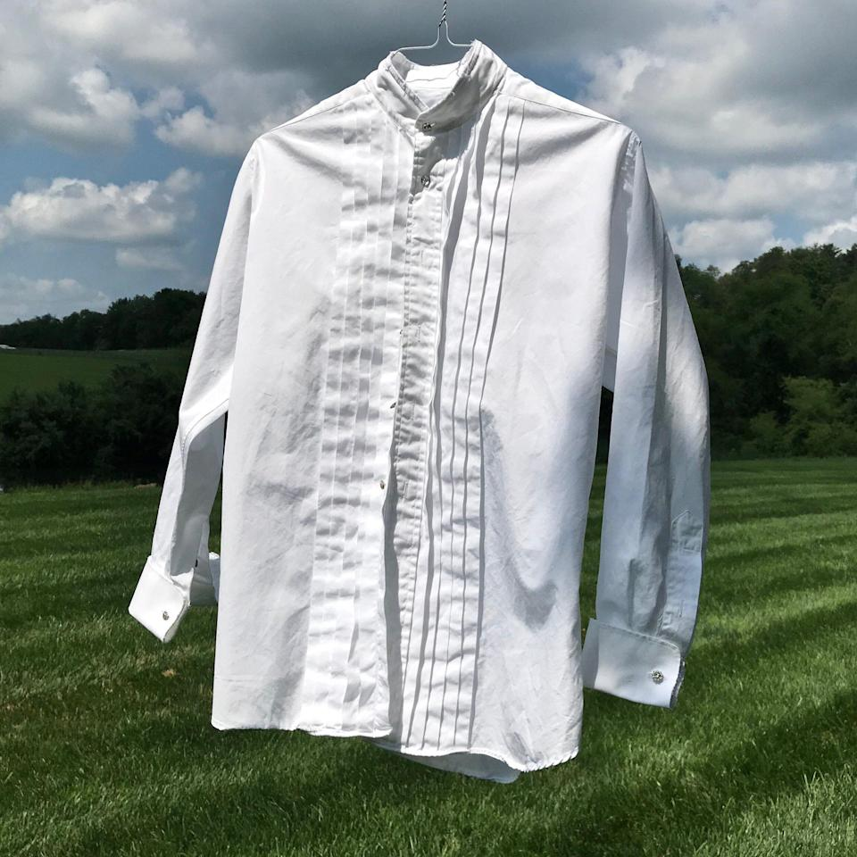"""<p><strong>A Shirt Story</strong></p><p>ashirtstory.com</p><p><strong>$168.00</strong></p><p><a href=""""https://www.ashirtstory.com/collection/white-tuxedo-pleated-front-shirt-1"""" rel=""""nofollow noopener"""" target=""""_blank"""" data-ylk=""""slk:SHOP IT"""" class=""""link rapid-noclick-resp"""">SHOP IT</a></p><p>Made by former fashion editor Sasha Igelhart, these thrifted men's shirts are given new life with rhinestone buttons and raw-edge hems. It's those subtle details that make classic shirting feel more interesting. Personally, I keep grabbing my oversized tuxedo version in lieu of a tee under a cardigan or wear it long and untucked for a tunic-like vibe.</p>"""