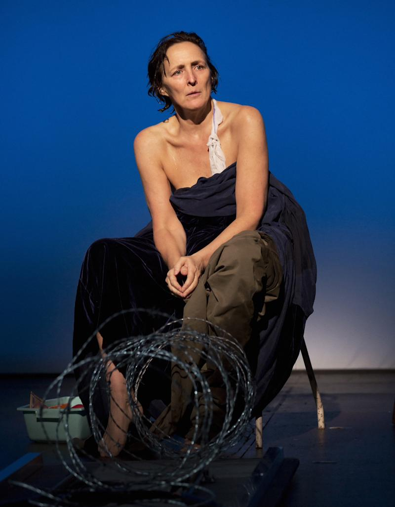 "This theater image released by Philip Rinaldi Publicity shows Fiona Shaw, perhaps best known for playing Harry Potter's aunt, portraying the mother of Christ in Irish writer Colm Toibin's world premiere stage adaptation of his novella ""The Testament of Mary,""  at the Walter Kerr Theatre in New York. (AP Photo/Philip Rinaldi Publicity, Paul Kolnik)"