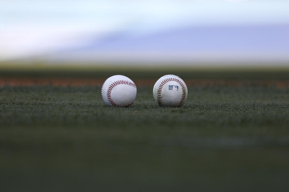 LOS ANGELES, CALIFORNIA - MAY 28: A general view of baseballs prior to a game between the Los Angeles Dodgers and the San Francisco Giants at Dodger Stadium on May 28, 2021 in Los Angeles, California. (Photo by Michael Owens/Getty Images)