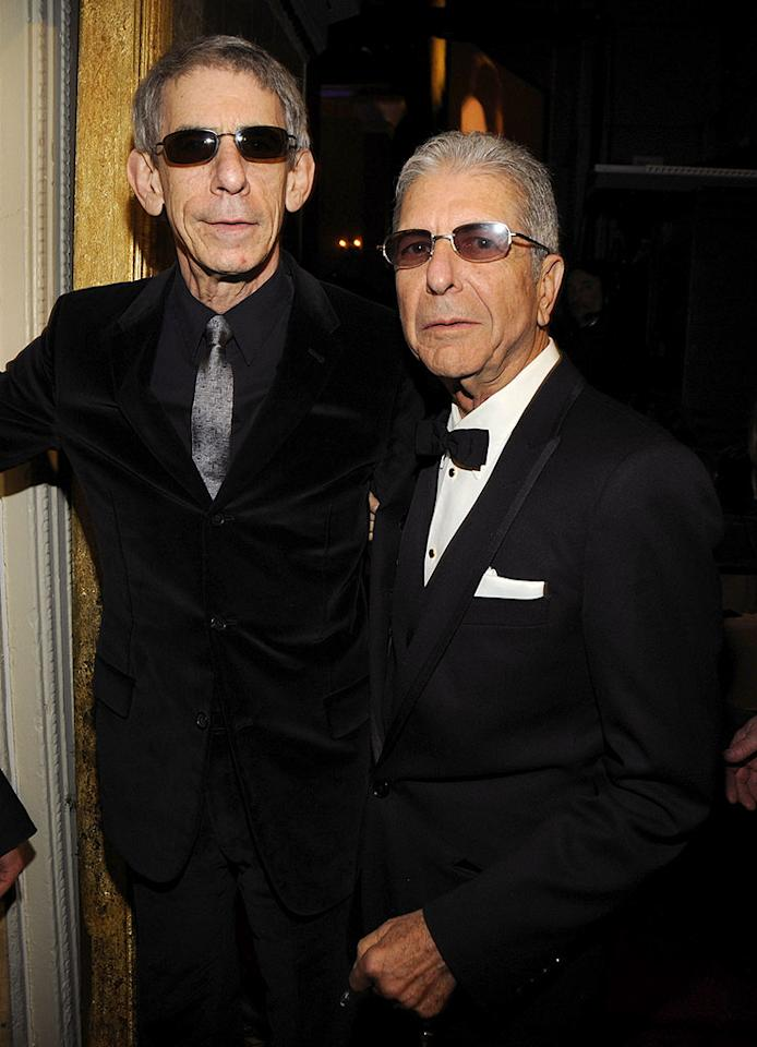 """Richard Belzer (""""Law & Order: SVU"""") and inductee/musical legend Leonard Cohen seem to be channeling Chanel fashion designer Karl Lagerfeld with their tinted glasses and silver locks. Kevin Mazur/<a href=""""http://www.wireimage.com"""" target=""""new"""">WireImage.com</a> - March 10, 2008"""