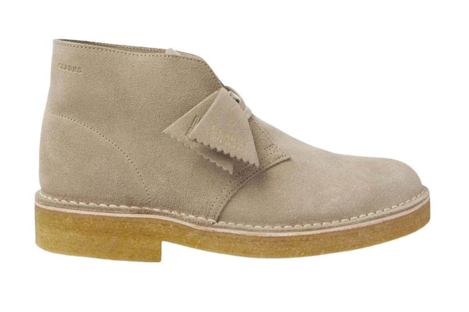 """<p><a href=""""https://www.gq.com/story/best-desert-boots-for-men?mbid=synd_yahoo_rss"""" rel=""""nofollow noopener"""" target=""""_blank"""" data-ylk=""""slk:Clarks' legendary desert boot"""" class=""""link rapid-noclick-resp"""">Clarks' legendary desert boot</a> is a go-to 10 months out of the year. A recent update injecting the crepe sole with some extra heft makes them feel just right for the current huskier footwear wave.</p> <p><em>Clarks Originals suede desert boots</em></p> $200, Mr Porter. <a href=""""https://www.mrporter.com/en-us/mens/product/clarks-originals/shoes/desert-boots/suede-desert-boots/34480784412042927"""" rel=""""nofollow noopener"""" target=""""_blank"""" data-ylk=""""slk:Get it now!"""" class=""""link rapid-noclick-resp"""">Get it now!</a>"""
