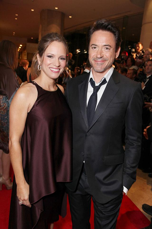 """<a href=""""http://movies.yahoo.com/movie/contributor/1808430145"""">Susan Downey</a> and honoree <a href=""""http://movies.yahoo.com/movie/contributor/1800010914"""">Robert Downey Jr.</a> attend the 25th American Cinematheque Award in Beverly Hills on October 14, 2011."""