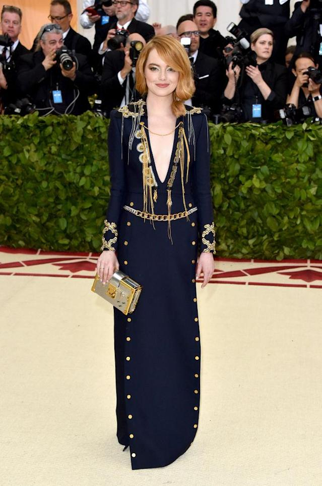 <p>Stone looked sexy and sophisticated in Louis Vuitton. (Photo: Getty Images) </p>
