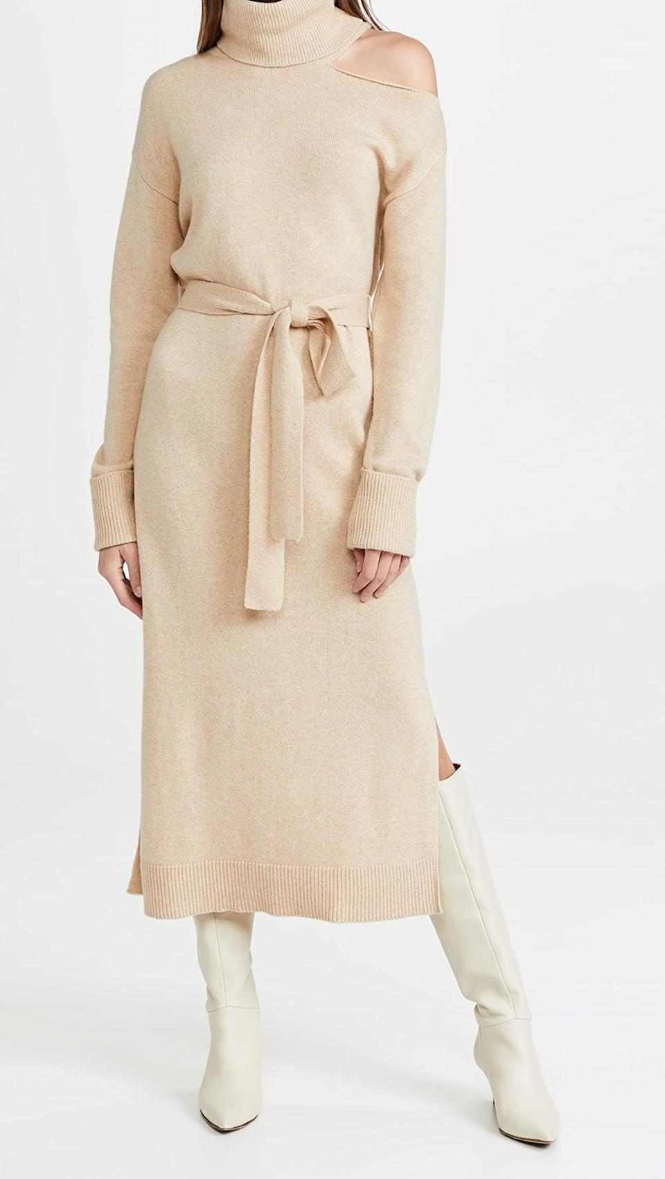 <p>This <span>Paige Raundi Dress</span> ($299) has a tie waist, a shoulder cut out, and a side slit. We love it paired with tall boots.</p>