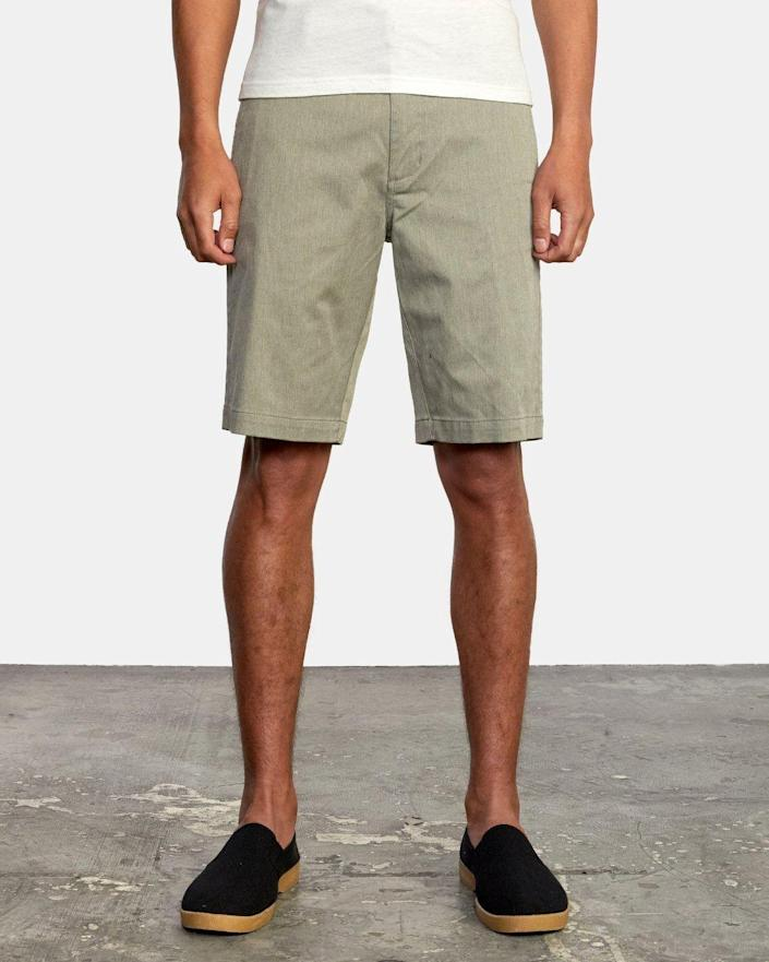 """<p><strong>RVCA</strong></p><p>amazon.com</p><p><strong>$36.17</strong></p><p><a href=""""https://www.amazon.com/dp/B08QZZP25V?tag=syn-yahoo-20&ascsubtag=%5Bartid%7C2139.g.36633905%5Bsrc%7Cyahoo-us"""" rel=""""nofollow noopener"""" target=""""_blank"""" data-ylk=""""slk:BUY IT HERE"""" class=""""link rapid-noclick-resp"""">BUY IT HERE</a></p><p>Like a chino but with more stretch, these shorts have a bit of texture worked into their finish. Because they're a longer cut (18 inches, to be exact), they might even work with some office dress codes—because yes, that's a thing to start thinking about again. </p>"""