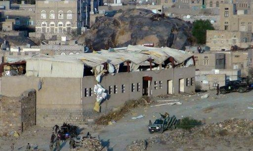 The site where two suicide bombers blew up a vehicle at a Yemeni army camp on March 3