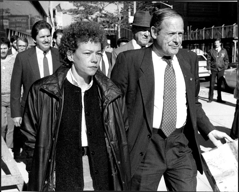District Attorney Elizabeth Lederer leaves Court on lunch break at the Central Park Jogger trial. October 29, 1990. (Photo by Don Halasy/New York Post Archives /(c) NYP Holdings, Inc. via Getty Images)