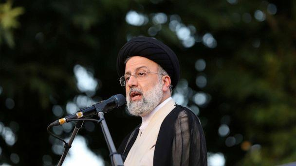 FILE PHOTO: Presidential candidate Ebrahim Raisi speaks during a campaign rally in Tehran, Iran June 15, 2021.  (Wana News Agency/via Reuters)