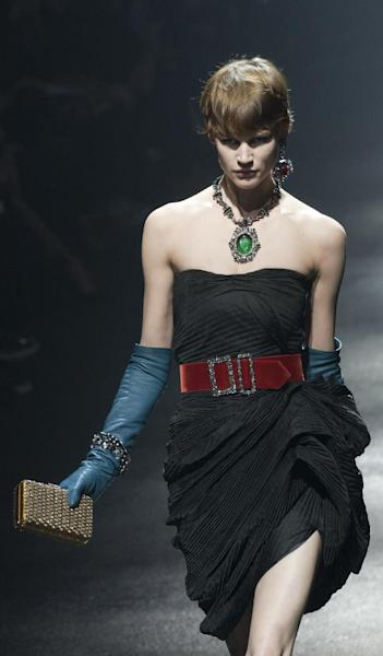 A model wears a creations by Israeli fashion designer Alber Elbaz and Dutch fashion designer Lucas Ossendrijver for the fashion house Lanvin collection for her the Fall-Winter, ready-to-wear 2013 fashion collection, during Paris Fashion week, Friday, March 2, 2012. (AP Photo/Jacques Brinon)