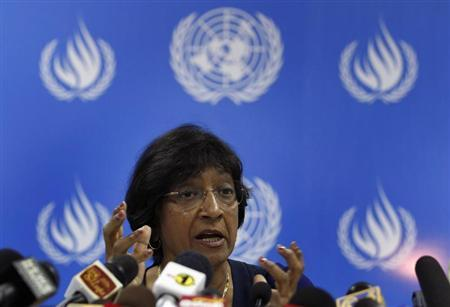 U.N. High Commissioner for Human Rights Pillay speaks during a news conference on her trip around Sri Lanka at the U.N. headquarters in Colombo