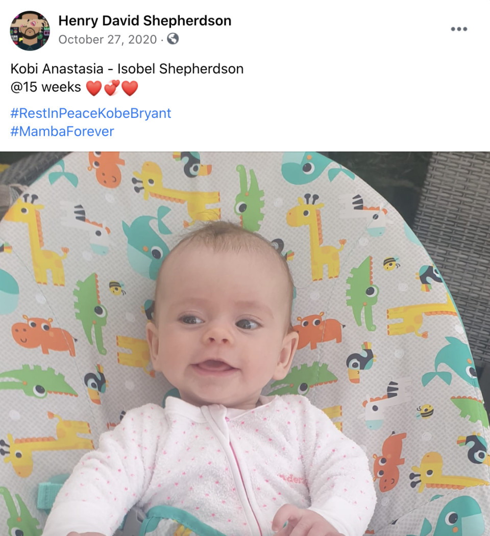 One of several posts on Henry Shepherdson's page featuring his daughter Kobi.