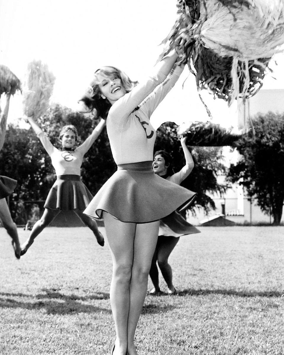 <p>Jane Fonda practices her cheerleading skills for her debut role in Tall Story, 1960.</p>