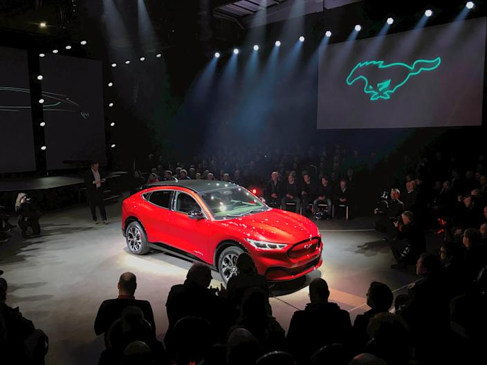 An electric Mustang Mach-E car is displayed during its launch in Oslo, Norway November 18, 2019. Picture taken November 18, 2019.