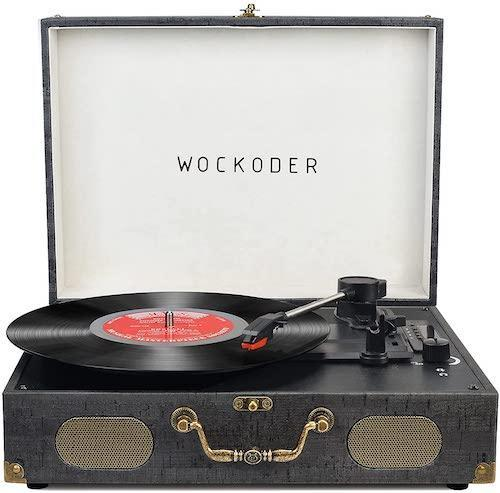Wockoder Portable Wireless 3 Speed Vinyl Record Player with Built-in Speakers