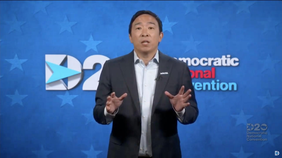 MILWAUKEE, WI - AUGUST 20: In this screenshot from the DNCC's livestream of the 2020 Democratic National Convention, businessman Andrew Yang addresses the virtual convention on August 20, 2020.  The convention, which was once expected to draw 50,000 people to Milwaukee, Wisconsin, is now taking place virtually due to the coronavirus pandemic.  (Photo by DNCC via Getty Images)