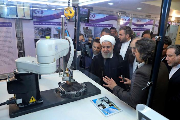 <p>Iranian president Hassan Rouhani on 'National Nuclear Day' in 2018</p> (AP)