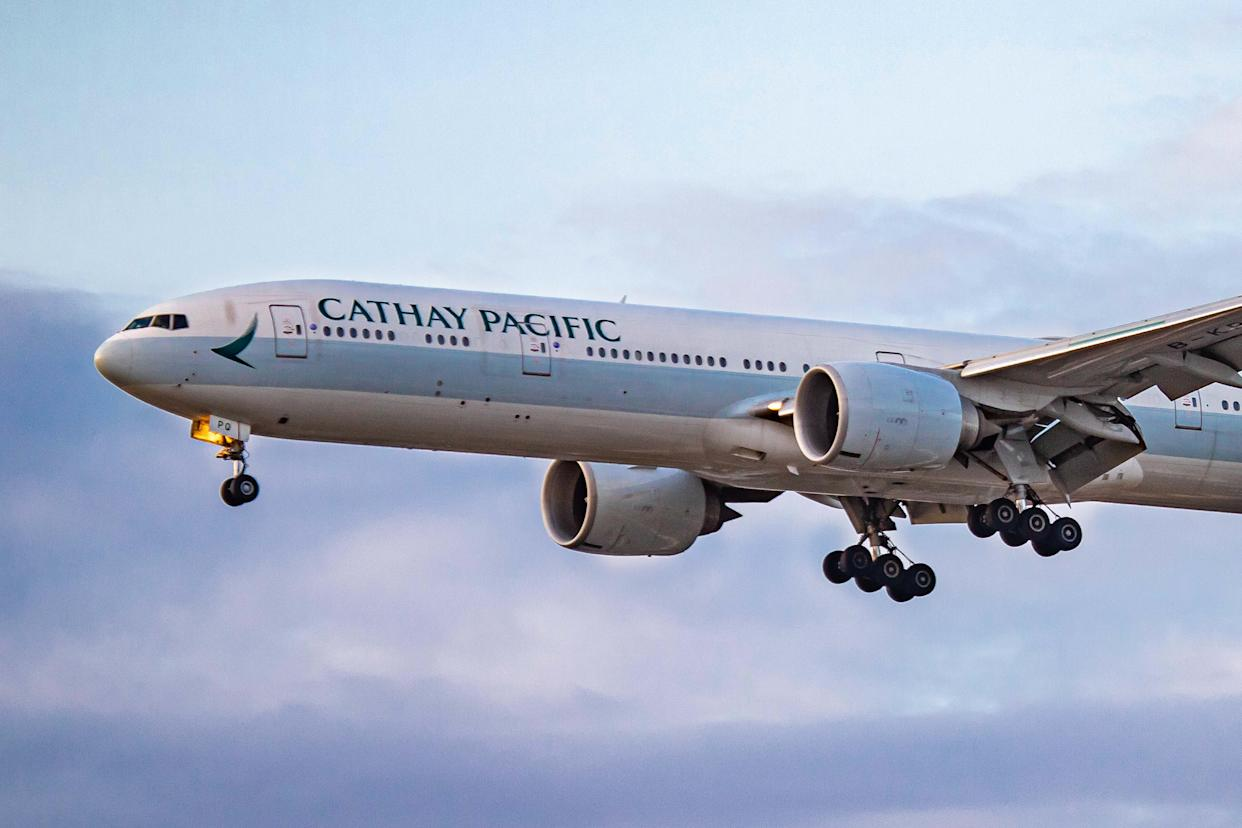 A Cathay Pacific Boeing 777 aircraft